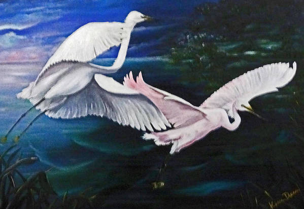 Snowy Egrets Art Print featuring the painting Early Flight by Karin Dawn Kelshall- Best