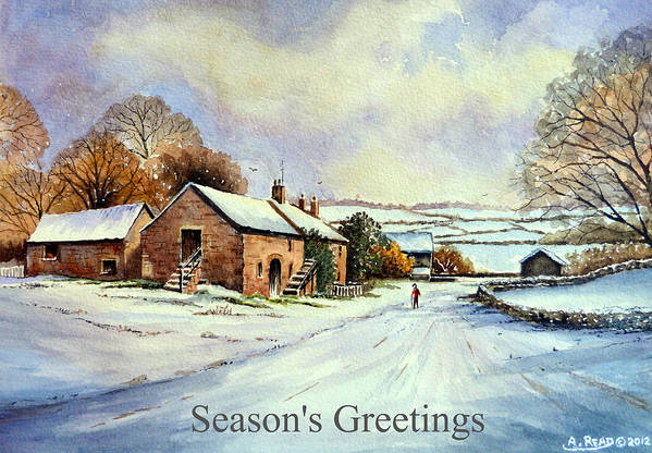 Greeting Cards Art Print featuring the painting Early Morning Snow Christmas Cards by Andrew Read