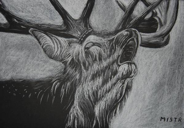 Drawing Art Print featuring the drawing Elk by Michal Straska