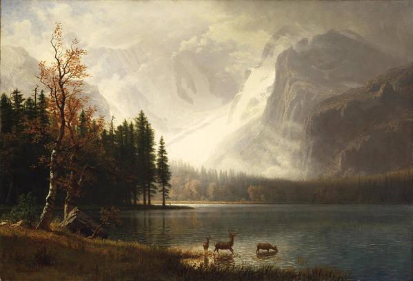Albert Bierstadt Art Print featuring the digital art Estes Park Colorado Whytes Lake by Albert Bierstadt