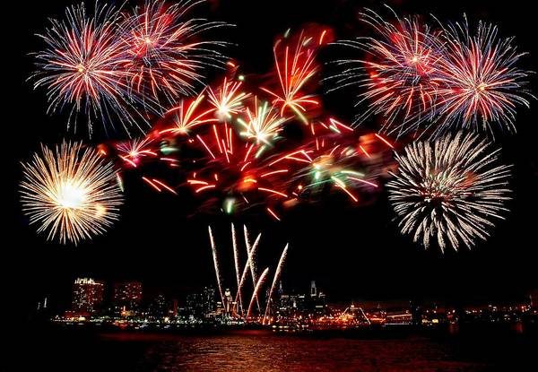 4th Art Print featuring the photograph Fireworks Over The Delaware by Nick Zelinsky