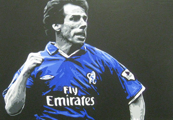 Gianfranco Zola Art Print featuring the painting Gianfranco Zola - Chelsea Fc by Geo Thomson