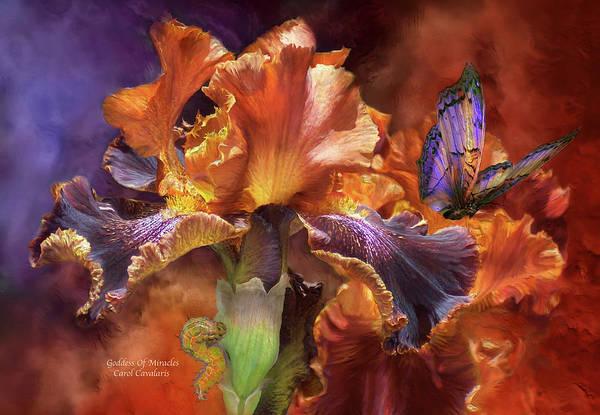 Iris Art Print featuring the mixed media Goddess Of Miracles by Carol Cavalaris