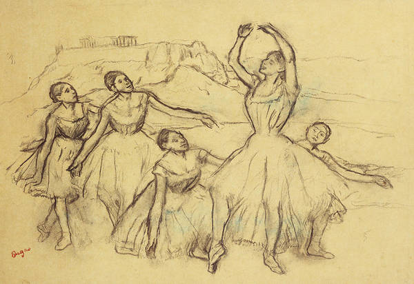 Dancer Print featuring the drawing Group Of Dancers by Edgar Degas