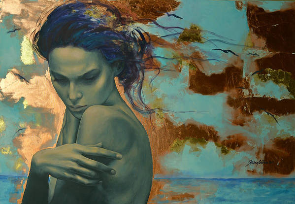 Fantasy Art Print featuring the painting Harboring Dreams by Dorina Costras