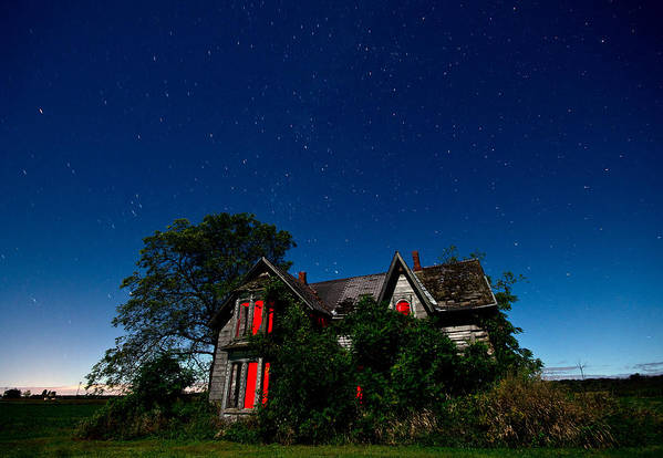 Abandoned Art Print featuring the photograph Haunted Farmhouse At Night by Cale Best