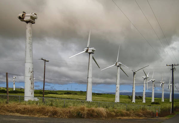 wind Turbines Art Print featuring the photograph Hawaiian Abandoned Wind Power Generators by Daniel Hagerman