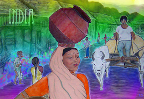 India Art Print featuring the digital art India by Karen R Scoville