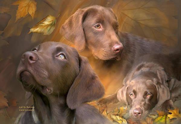 Labrador Retriever Art Print featuring the mixed media Lab In Autumn by Carol Cavalaris