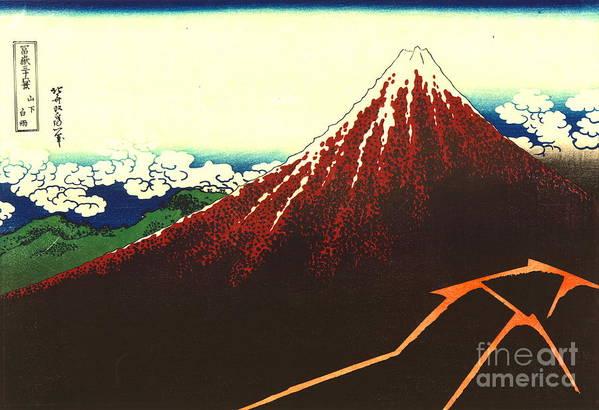 Lightning Art Print featuring the photograph Lightning Below Red Fuji 1826 by Padre Art