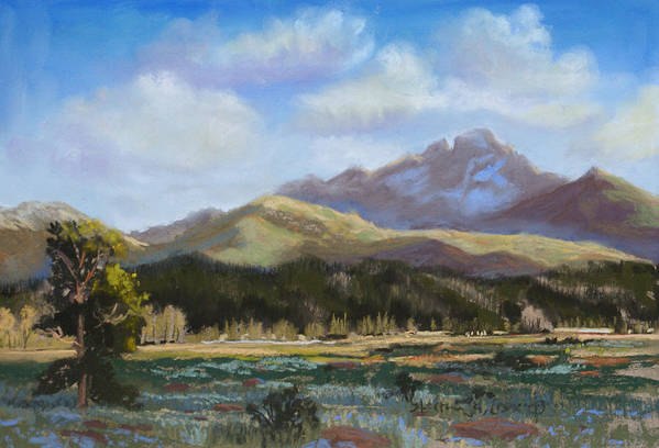 Long's Peak Print featuring the painting Long's Light by Heather Coen