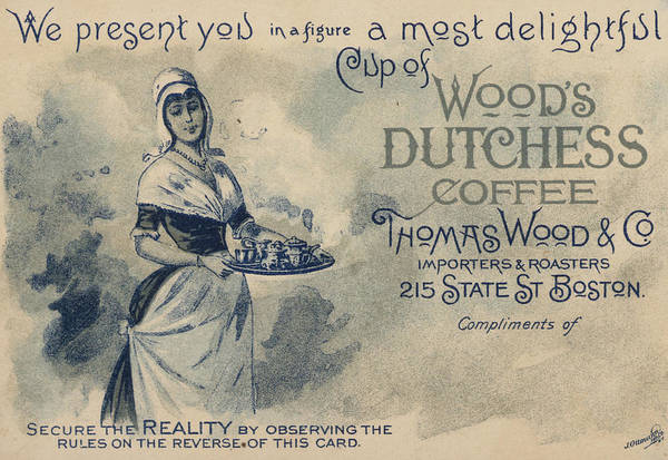 Advertising Print featuring the painting Maid Serving Coffee Advertisement For Woods Duchess Coffee Boston by American School