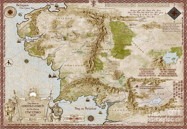 Map Of Middle Earth Art Print by Anthony Forster