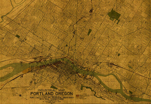Map Of Portland Oregon City Street Schematic Cartography Circa 1924 Street Map Of Portland on