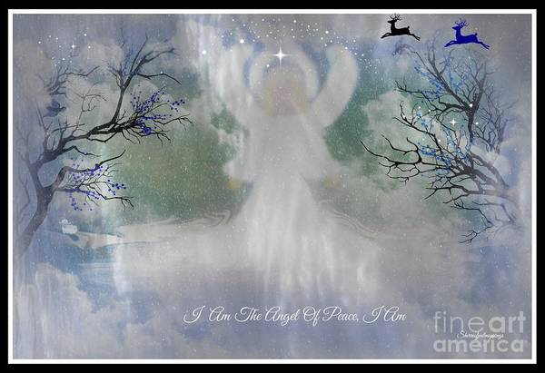 Angel Print featuring the digital art Midnight Angel Of Peace by Sherri Of Palm Springs