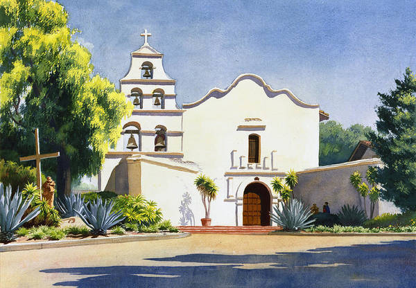 California Mission Art Print featuring the painting Mission San Diego De Alcala by Mary Helmreich