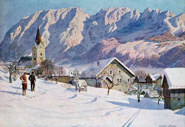 Snow Art Print featuring the painting Mitterndorf In Austria by Gustave Jahn