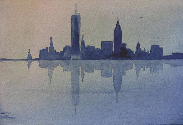 Nyc Art Print featuring the painting New York Skyline by Donna Walsh