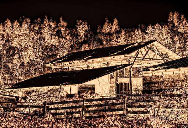 Barn Art Print featuring the photograph Old Barn In Reversed Negative by Dawn Harris