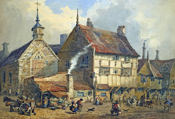 Old; Houses; House; St; Olaves; Church; Lower; Bridge; Street; Chester; Cheshire; Medieval; Architecture; Half-timbered; Half; Timbered; Daily; Life; Scene; Figure; Figures; Busy; Town; City; Shop; Shops; Commerce; Trade; Fruit And Vegetable; Stall; Fruit; Vegetable; Smoke; Smoking; Chimney; Anecdotal; Horse And Cart; Horse; Cart; English; British; Print featuring the painting Old Houses And St Olaves Church by George Shepherd