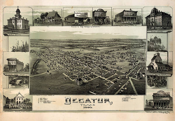 Map Art Print featuring the drawing Old Map Of Decatur Texas 1890 by Mountain Dreams