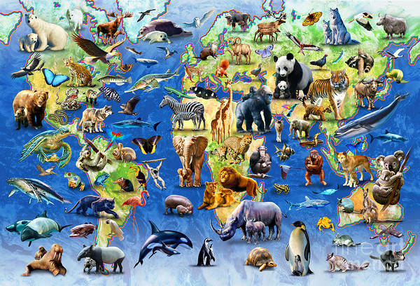 Adrian Chesterman Print featuring the digital art One Hundred Endangered Species by Adrian Chesterman