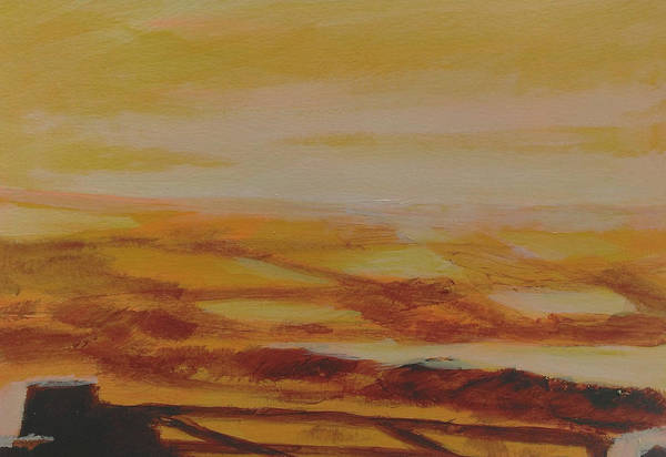 Fields Art Print featuring the painting Orange Landscape 2 by Paul Mitchell