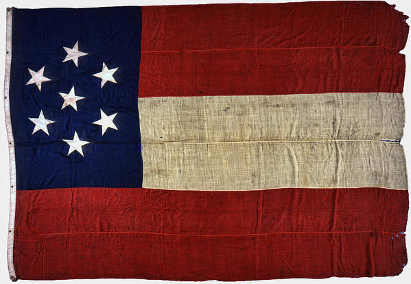 civil War Art Print featuring the photograph Original Stars And Bars Confederate Civil War Flag by Daniel Hagerman