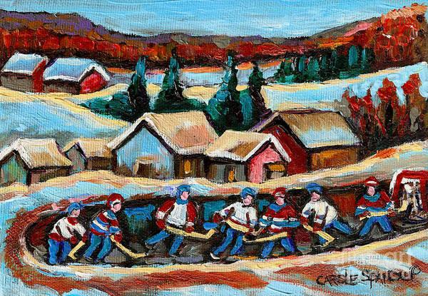 Pond Hockey Art Print featuring the painting Pond Hockey 2 by Carole Spandau