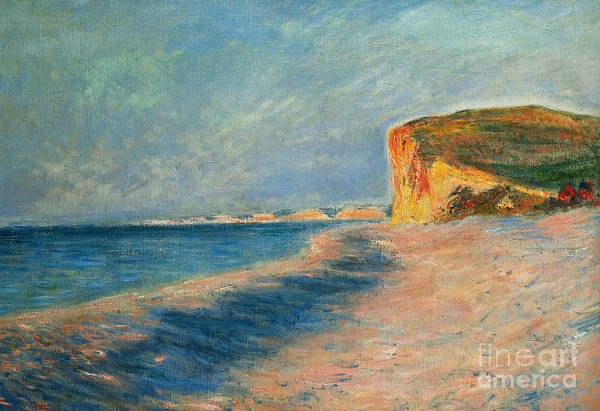 Outdoor; Outdoors; Outside; Painting; Peace; Peaceful; Perspective; Picturesque; Positive Concepts; Pourville; Pourville Pres De Dieppe; Quiet; Receding View; Rock; Sea; Seine Maritime; Shore; Shoreline; Sky; Still; Sun; Sunlight; Sunny; Tide; Time Of Day; Tranquil; Tranquility; Water; Waves Art Print featuring the painting Pourville Near Dieppe by Claude Monet
