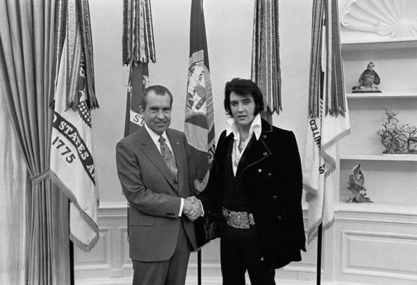 History Art Print featuring the photograph President Richard Nixon And Elvis by Everett
