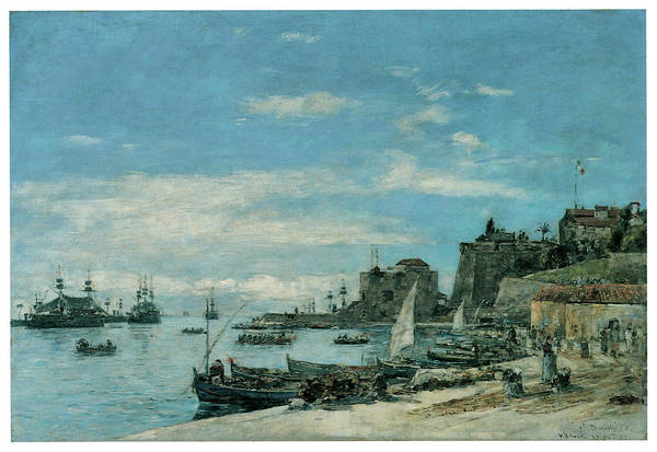 Eugene Boudin Art Print featuring the painting Quay At Villefranche by Eugene Boudin