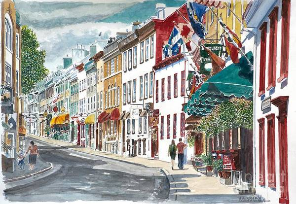 Quebec Old City Canada Art Print featuring the painting Quebec Old City Canada by Anthony Butera