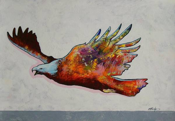 Wildlife Art Print featuring the painting Rainbow Warrior Flying Eagle by Joe Triano