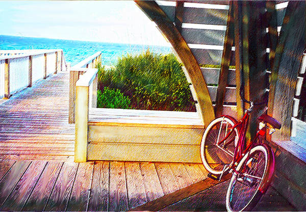 Bike Art Print featuring the digital art Red Bike On Beach Boardwalk by Jane Schnetlage
