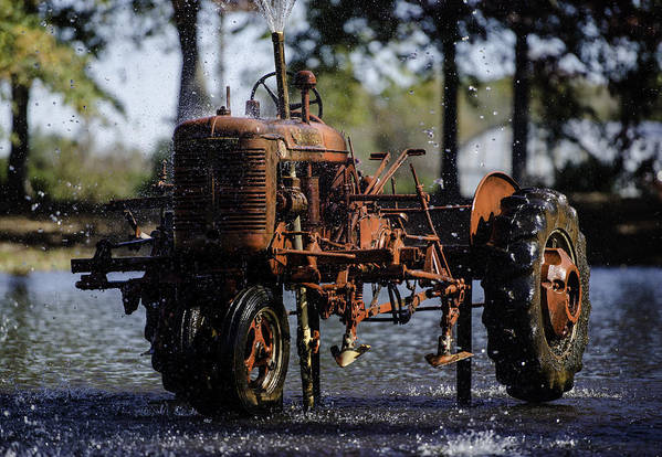 Texas Art Print featuring the photograph Red Tractor Fountain by Alan Roberts