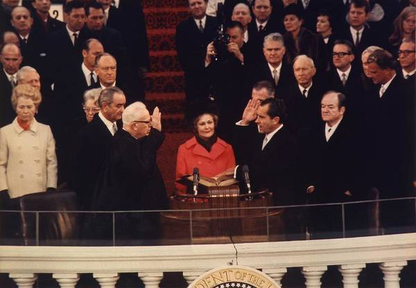 History Art Print featuring the photograph Richard Nixon Taking The Oath Of Office by Everett