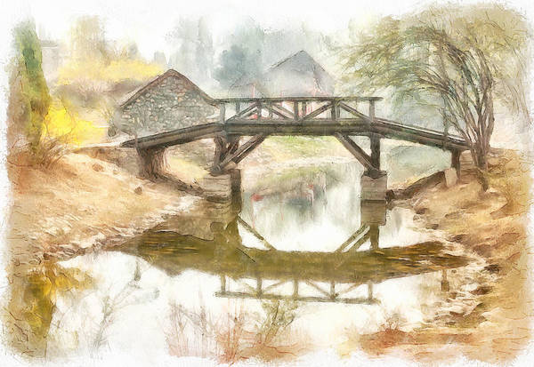 Simple Art Print featuring the digital art River Bridge Landscape by Yury Malkov