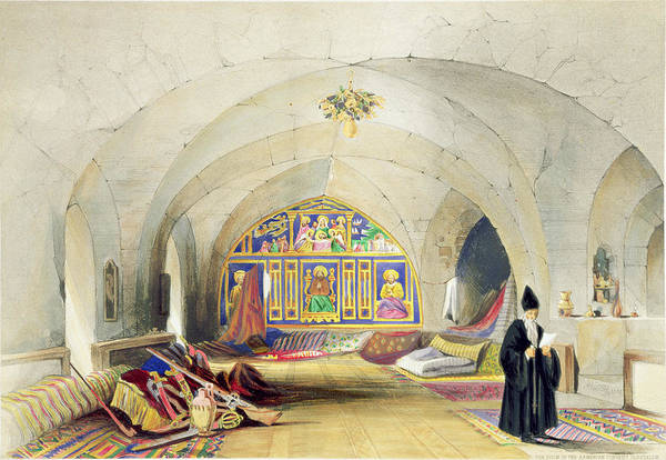 Priest Art Print featuring the drawing Room In An Armenian Convent by A. Margaretta Burr