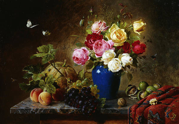Still-life Print featuring the painting Roses In A Vase Peaches Nuts And A Melon On A Marbled Ledge by Olaf August Hermansen