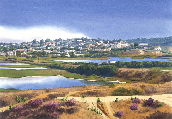 San Elijo Art Print featuring the painting San Elijo And Manchester Ave by Mary Helmreich