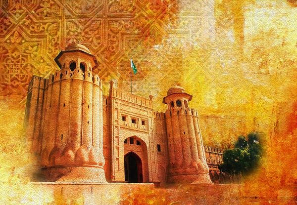 Pakistan Art Print featuring the painting Shahi Qilla Or Royal Fort by Catf
