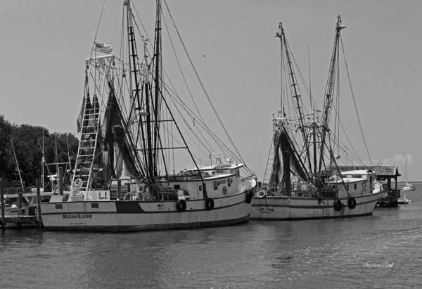 Black And White Print featuring the photograph Shem Creek Shrimpers - Black And White by Suzanne Gaff