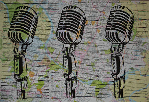 Mic Print featuring the drawing Shure 55s On Map by William Cauthern
