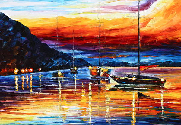Sea Art Print featuring the painting Sicily Messina by Leonid Afremov