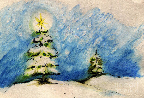 Christmas Art Print featuring the painting Silent Night Holy Night by Angel Ciesniarska