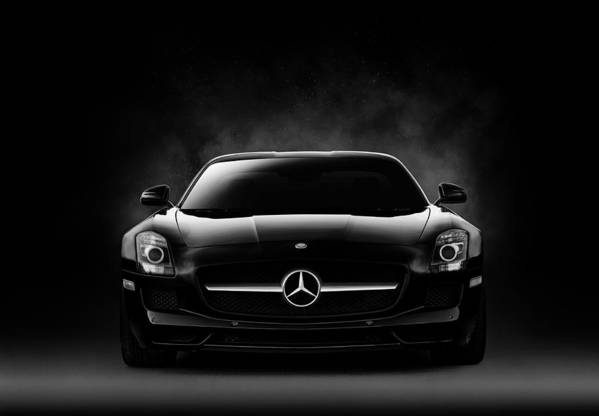 Mercedes Art Print featuring the digital art Sls Black by Douglas Pittman