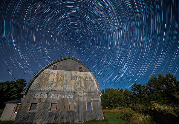 Star Art Print featuring the photograph Star Trails Over Barn by Paul Freidlund