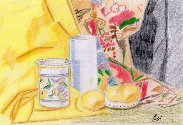 Still Life Print featuring the drawing Still Life With A Patterned Background by Bav Patel