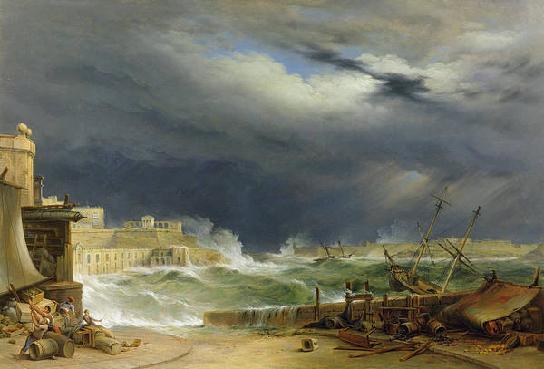 Harbor Art Print featuring the painting Storm Malta by John or Giovanni Schranz